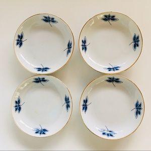 Blue & White Ceramic Condiment Bowls  w/ Gilt Edge